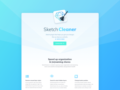 SketchCleaner - Website one pager clean header webpage one page product website cleaner sketchcleaner sketchplugin plugin sketch