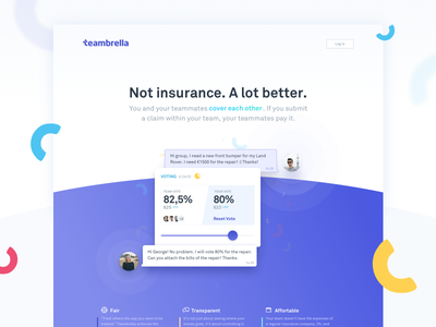 Teambrella Marketing website assurance confetti crypto cards curved webpage one pager one page header website