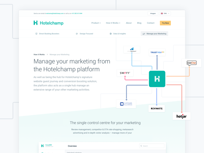 Hotelchamp - How it works 2018 navigation subheader about how it works home page landing page travel saas web hotelchamp landing website