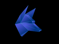 Wolf 3D logo Blue Metal