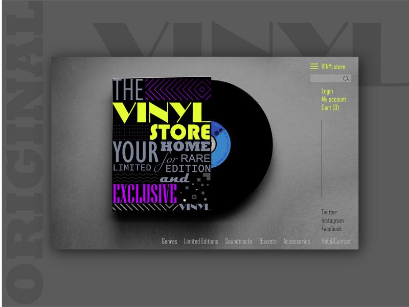 THE VINYL store typography graphic design color branding interface designer interface interface design landing page ui ux ui design uidesign landing website design design brand website web