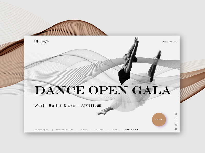 Dance Open Gala typography color interface landing design interface designer interface design design brand graphic design landing page landing website design ux ui design ui uidesign website web