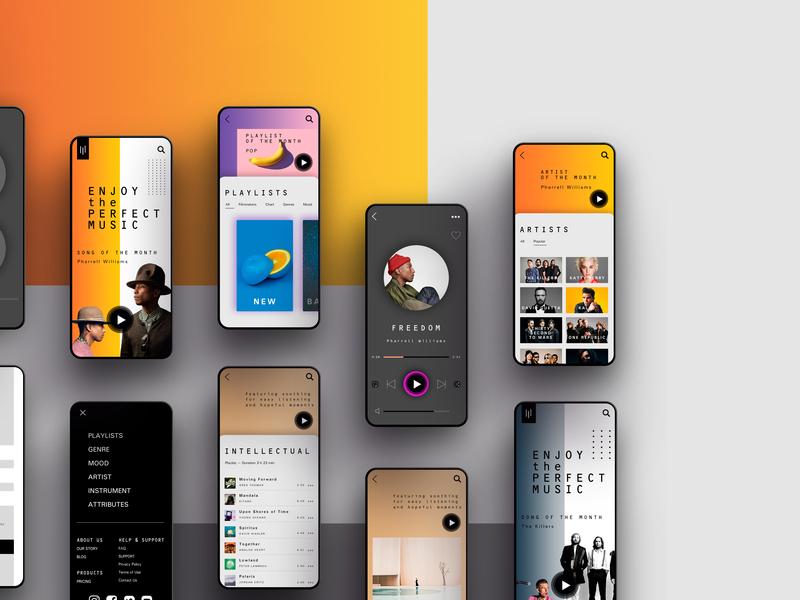 UI/UX Design Music App app typography color vector ux branding landing brand landing design graphic design ux ui design interface designer design interface design interface ui uidesign website design web website