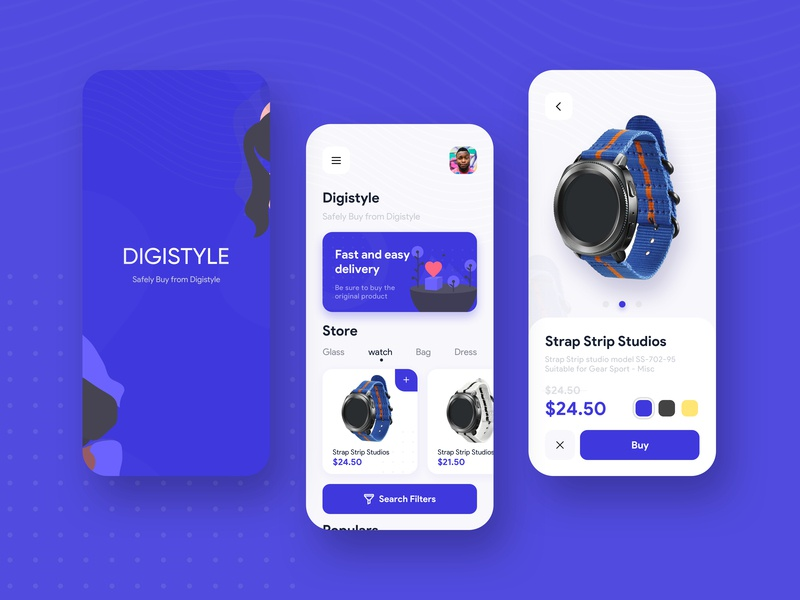 DigiStyle Ui Concept digistyle buy watch color store design store app store blue ui design ui  ux mobile ui mobile dark blue illustration design uiux concept ui