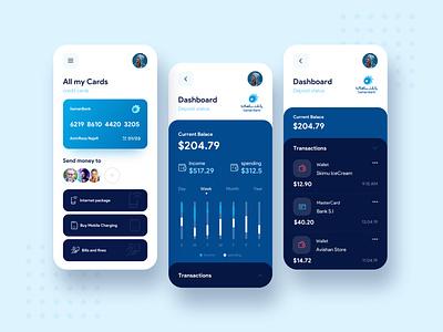Mobile Financial App finance chart credit card minimal ios activity money financial app financial app blue bank dark blue mobile concept color design app ui  ux ui
