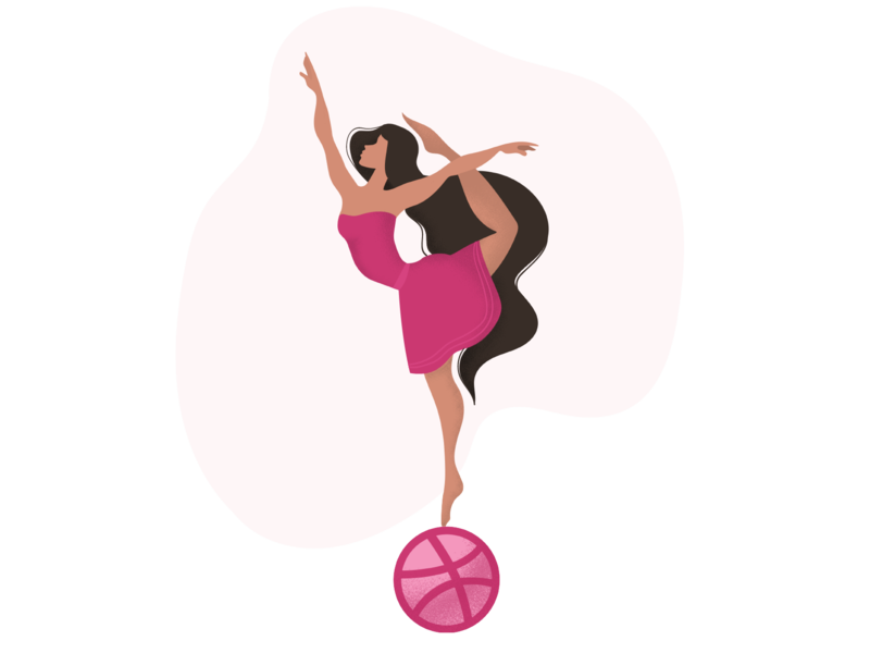 Hello Dribbblers!!! graphic design procreate ipad ballet figure dance ballerina hello flat dribbble vector app web illustration