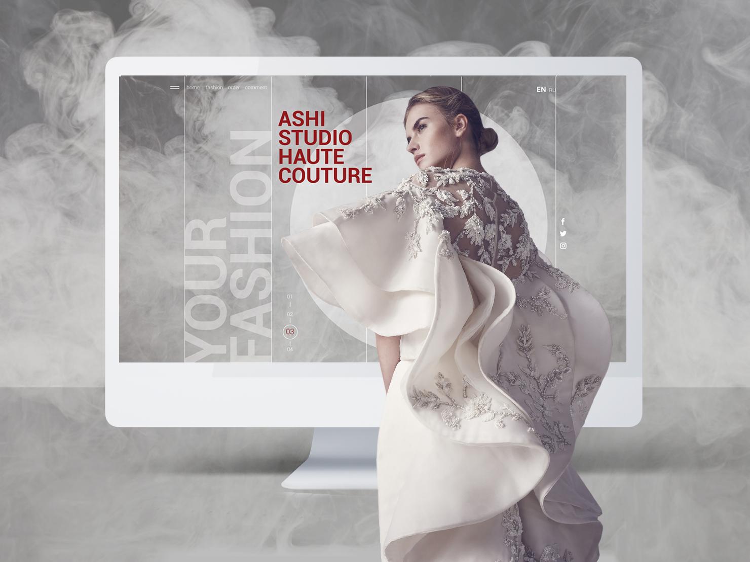 Personal website for fashion designer smoke tailoring app ui ux adaptive interface web photo exclusive dress landing landing page website fashion designer adobe graphic dribbble design