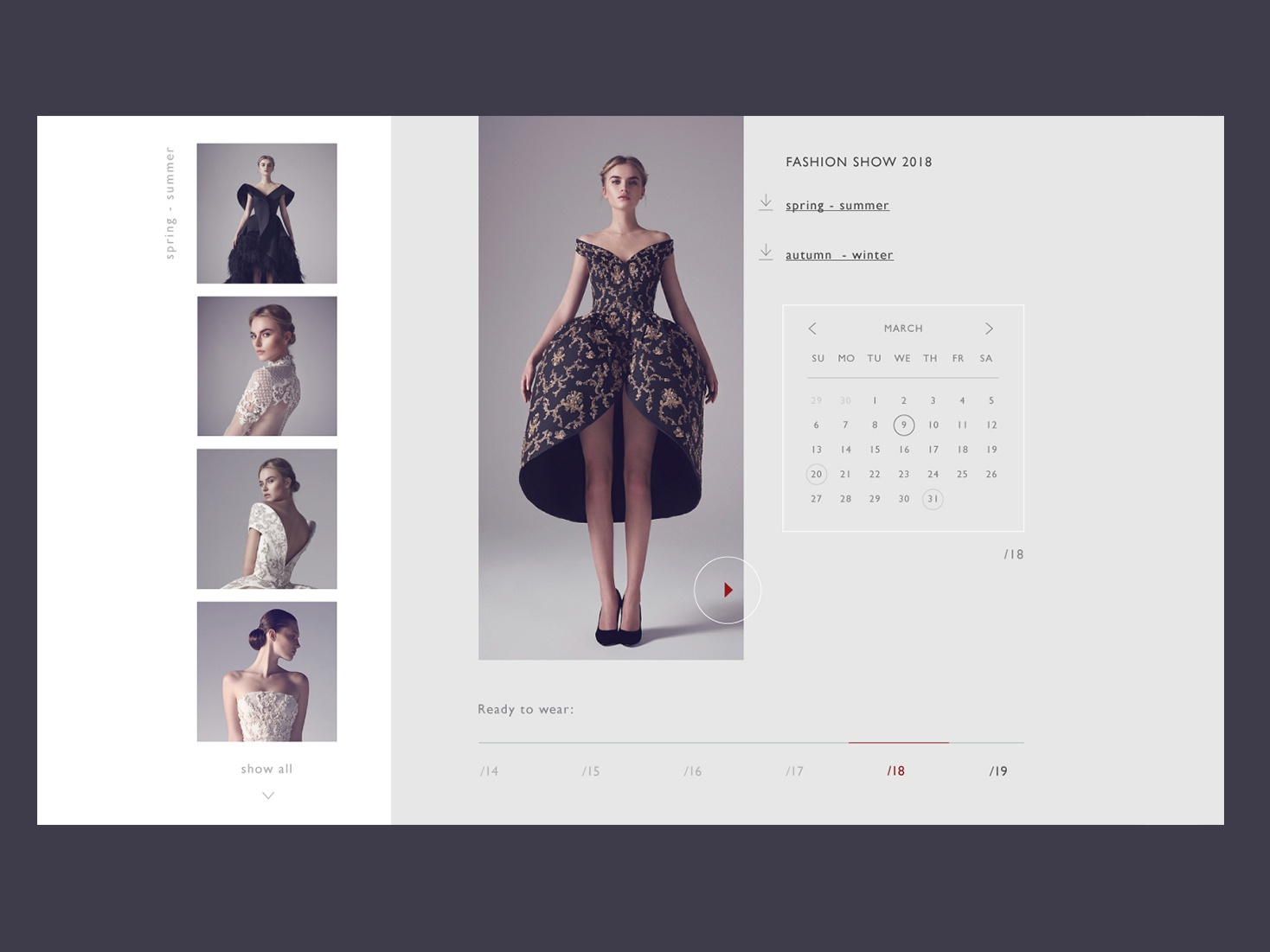 one of the pages of the clothing designer website collection fashion show event calendar branding website ux ui landing page landing flat fashion exclusive dress adaptive web app adobe dribbble design