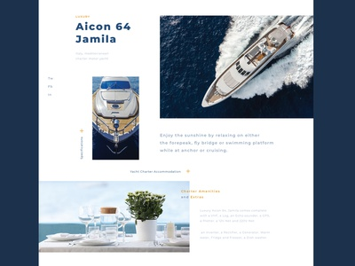one of the interfaces for renting a yacht travel journey cruise renting ocean sea yachting yacht typography website ux ui landing flat adaptive web app adobe dribbble design
