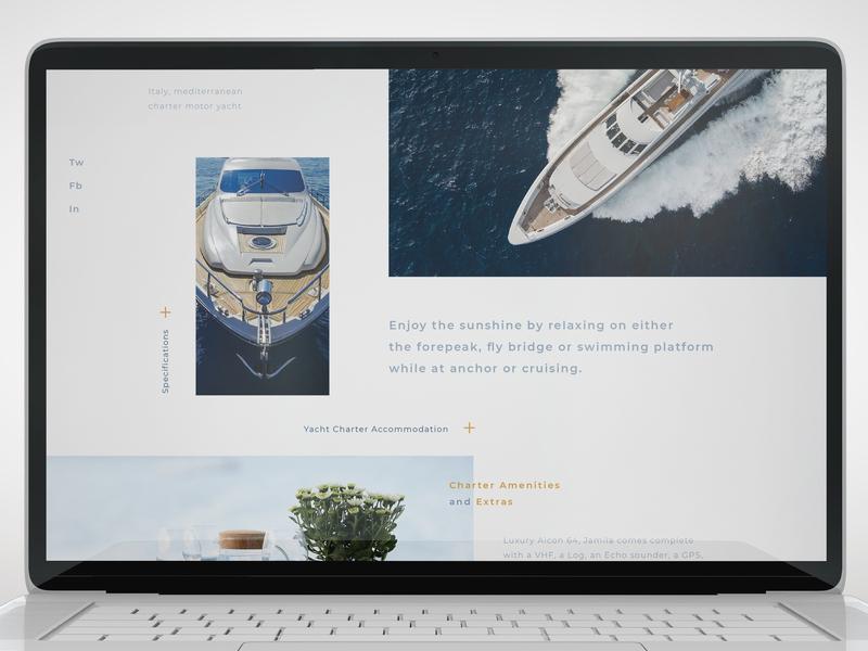 renting a yacht rent cruise minimalism ship yacht social networks macbook screen typography website ux ui landing flat adaptive web app adobe dribbble design