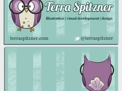 Temporary Cards business card cards work temporary owl purple teal stripes design