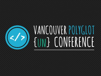 Vancouver Polyglot UnConference vancouver conference blue green white charcoal grey black text type typography logos logo coding code brackets circle stamp texture polyglot un-conference branding