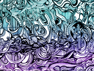 Ocean in a Storm pen ink illustration line doodle abstract