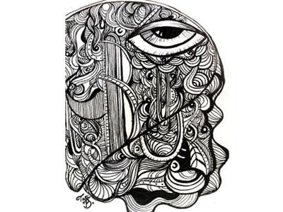 The Eye ink line doodle abstract eye pen illustration