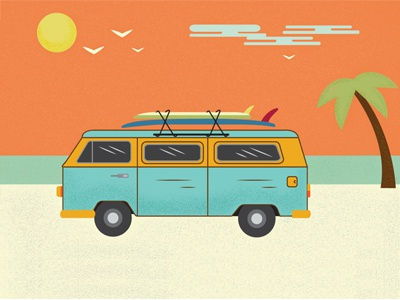 Beach Life swimming car van relax ocean bird sky tree palm surfing sand beach