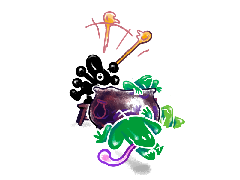 Makin' some potions 30s witchcraft cauldron toad illustration halloween character design