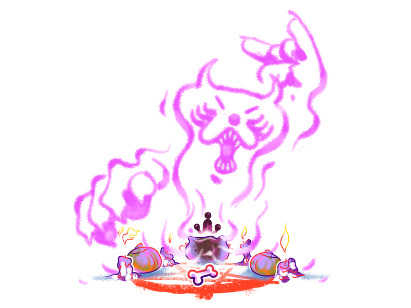 Release the devil!! summon dog devil character design halloween illustration witchcraft 30s pentagram