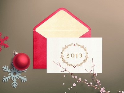 Christmas Invitation 2019 clean illustration christmas vector mock-up design