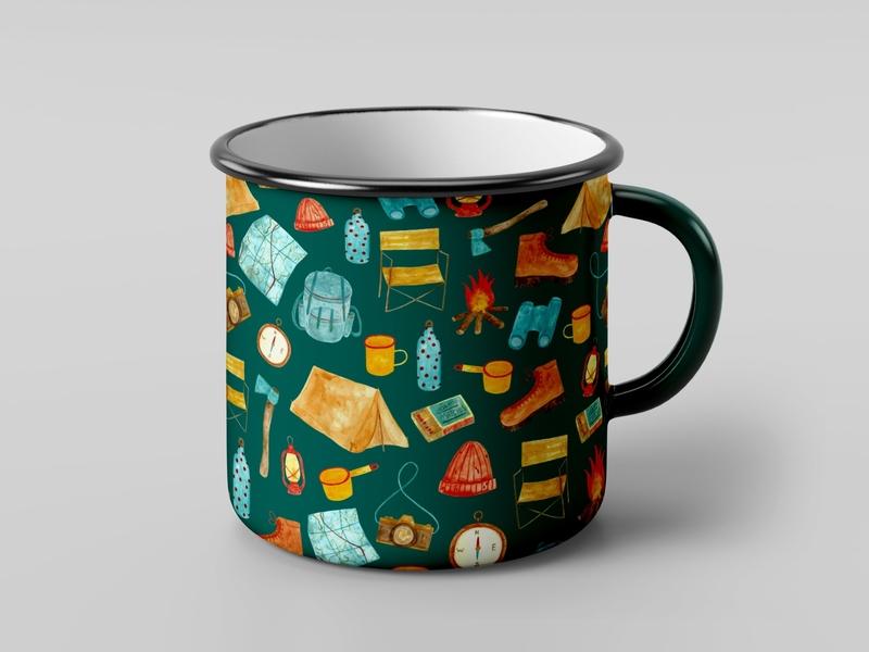 Adventure Pattern Enamel Mug enamel mug product mockup mockup 70s adventure camping watercolour illustration design coloured pencil adobe photoshop surface design pattern design pattern