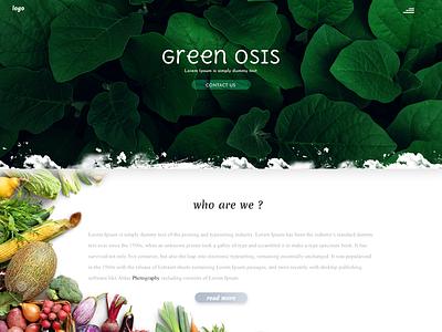 Green Osis clean illustration typography dailyui css 3 website web ux ui design branding animation