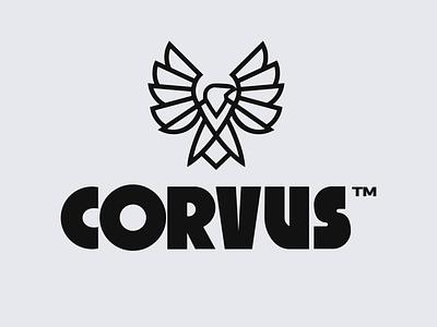 Corvus Logo custom lettering illustration vector logotype thick stroke lineart linework crow eagle corporate lettering custom type bird logo raven branding logo corvus