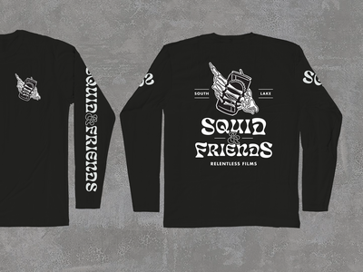 Squid & Friends follow cam film film company ske crew california friends squid mountain mammoth lake tahoe takoe south lake tahoe skiing pbr pabst skeleton hand futura eckmannpsych t-shirt design