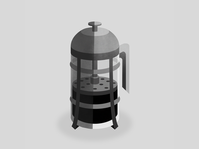 French Press isometric adobe illustration texture vector coffee