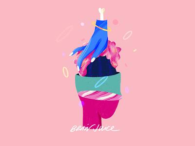 Brain juice shapes texture hands illustration