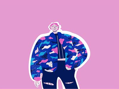 Cool Coat illustrations web girl character creativity character design adobe illustrator vector illustration flat illustration