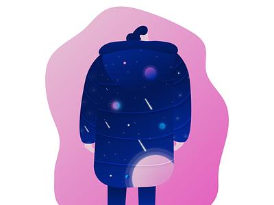 Give Me Space Coat characterdesign gradient space illustration art illustrations creativity adobe illustrator web vector illustration girl character flat illustration