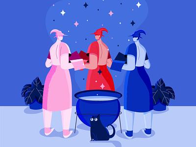Flora, Fauna and Merryweather illustrations illustration art character design spell cat magic spooky halloween adobe illustrator vector illustration girl character flat illustration