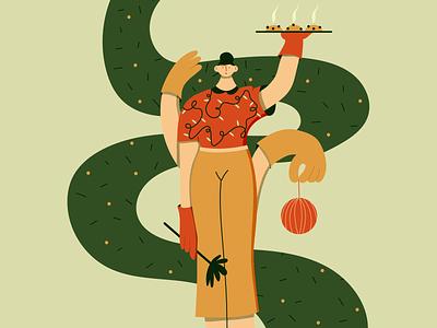 Housewife = Bo$$ design character web vector merry xmas happyholidays characterdesign girl character flat illustrator