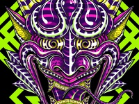 Psychedelic Hannya Illustration