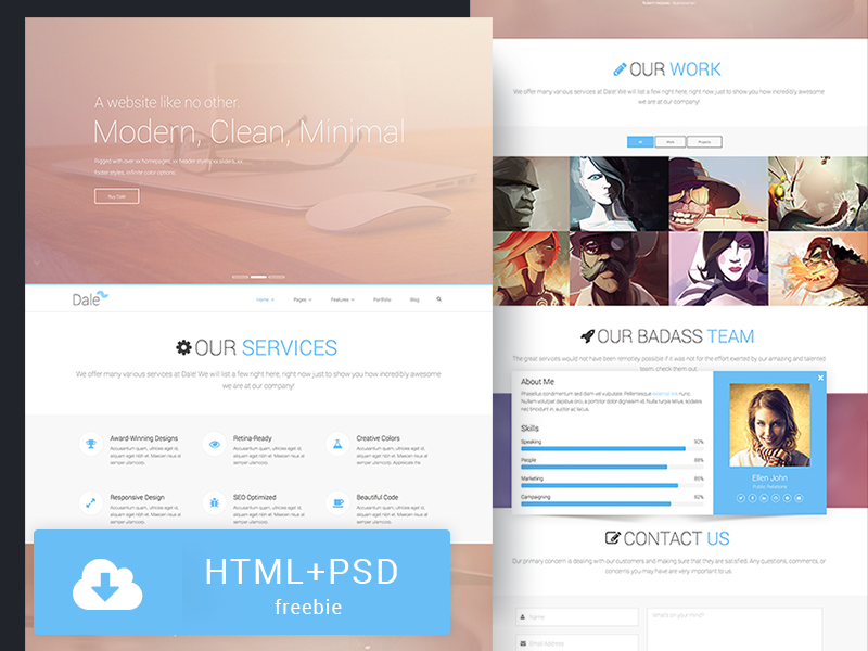 Free HTML/PSD Theme - Dale download html psd freebie template theme bootstrap twitter website