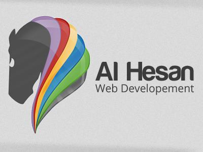Al Hesan Logo web development website special hesan al hesan glossy gloss horse unique colorful artsy creative minimal