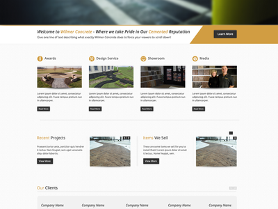 Wilmer Concrete website wilmerconcrete wilmer concrete template theme web site design photoshop homepage home page clean light crisp