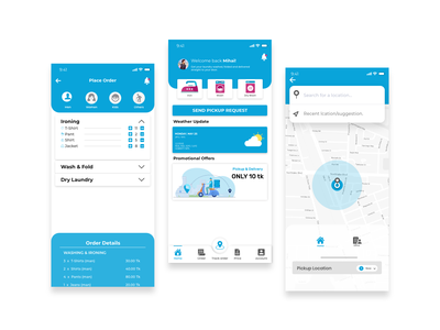 laundry app home page design branding graphic design ui