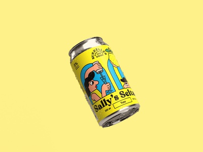 Sally's Seltzer Mikkeller San Diego branding and identity drawing beer typography logo seltzer lifestyle illustration design graphicdesign labels branding packaging