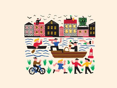 Nyhavn, Copenhagen beer label painting color branding art graphic drawing design illustration