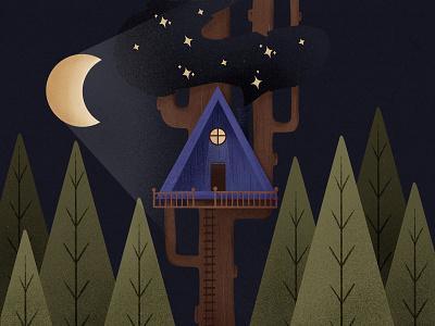 Tree cabin adventure time cabin life stars night time art procreate latvia illustration moon forest woods cabin at night night adventure