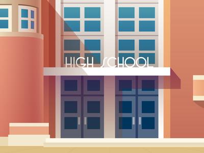 Art Deco High School in Color illustration design architecture building doors entrance windows type art deco