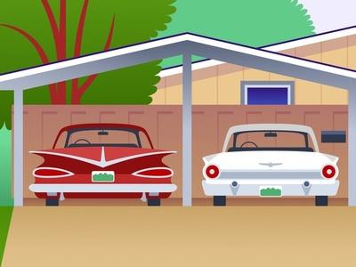 Image result for carport with two cars cartoon images