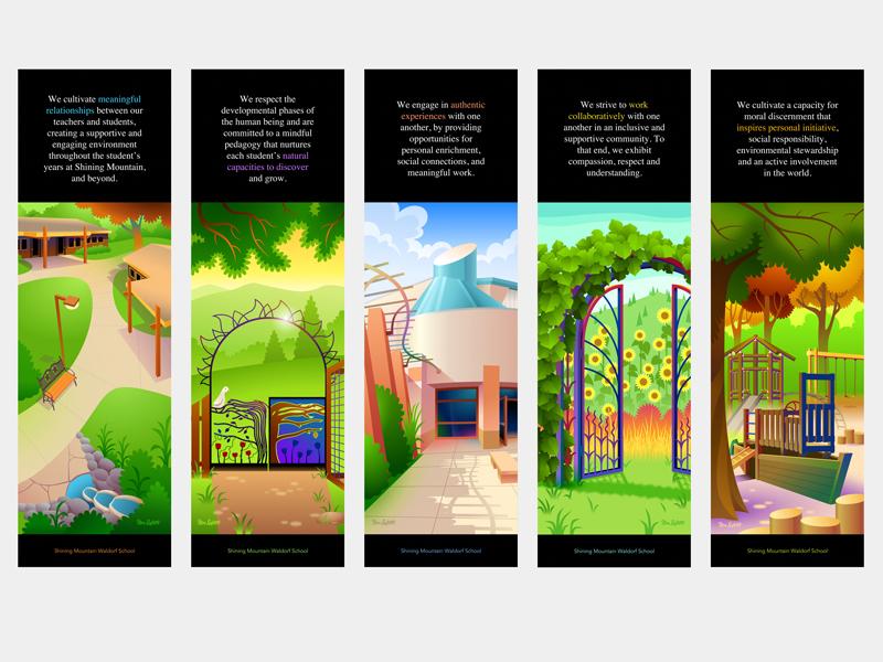 School Grounds Banners illustration vector sketch app architecture school garden trees playground gate