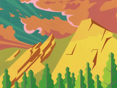 Colorado Wildfires illustration painting gouache boulder flatirons wildfire colorado clouds trees landscape rocks flagstaff fire