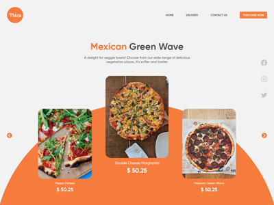 Landing Page For Pizza Shop illustration branding typography ui ux webdesign graphicdesign design