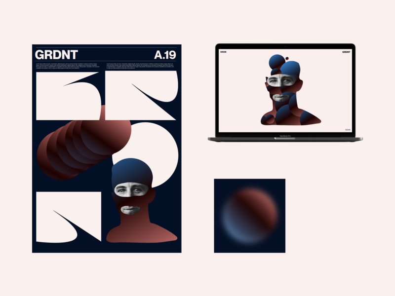 GRDNT ® KRON amadine brand and identity design illustration