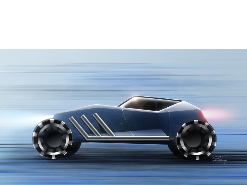 Hot rod Agorapode wacom intuos adobe photoshop automotive design rendering hand sketch