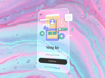 Sing In liquid log in sing up sing in trend adobe xd icon app typography ux ui design