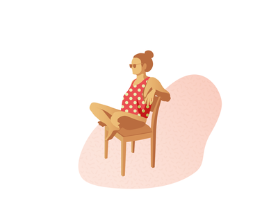 Girl illustration sun girl color vector relax magic chill illustration