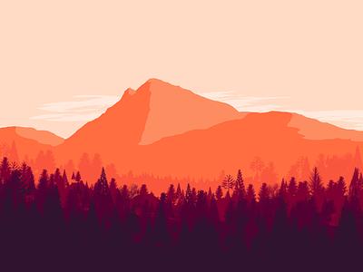 Mountain - Velky Choc relax design sunshine tree sunrise wallpaper chill sunset oragne colorful mountain vector illustration